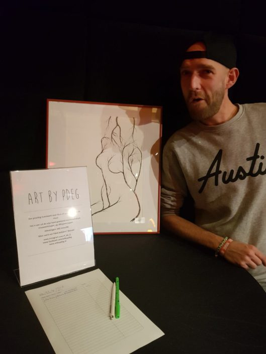 Posing with my drawing at Branded Free