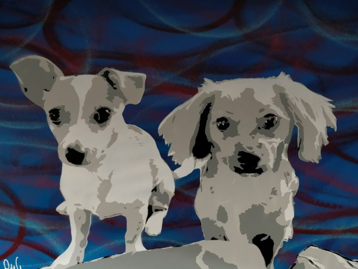 PdeG Painting of two dogs - commission
