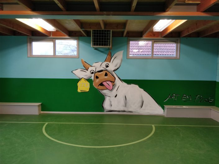 Cow themed mural @ Jeugdwerk Obdam, Netherlands