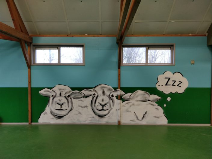 Sheep themed graffiti @ Jeugdwerk Obdam, Netherlands