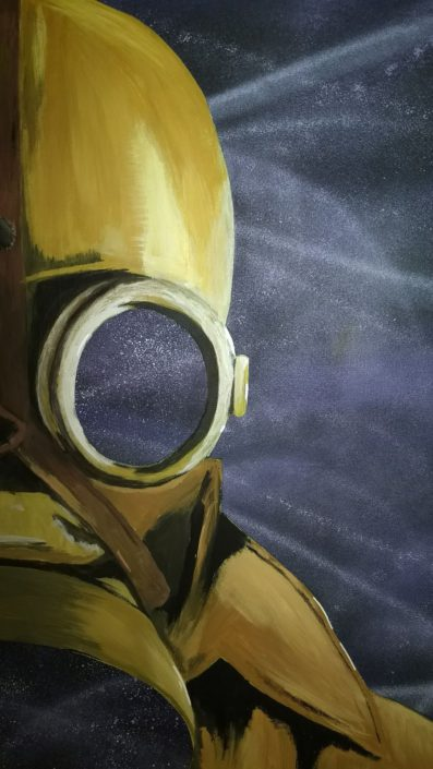 Detail of a PdeG Painting of a gas mask