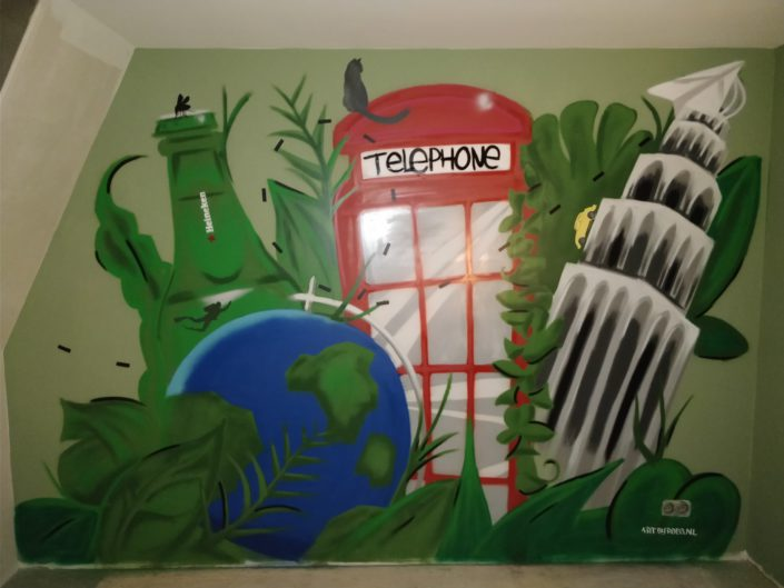 Urban jungle themed mural in a study