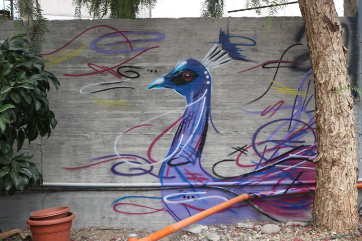 Expressively painted street art piece of a Peacock