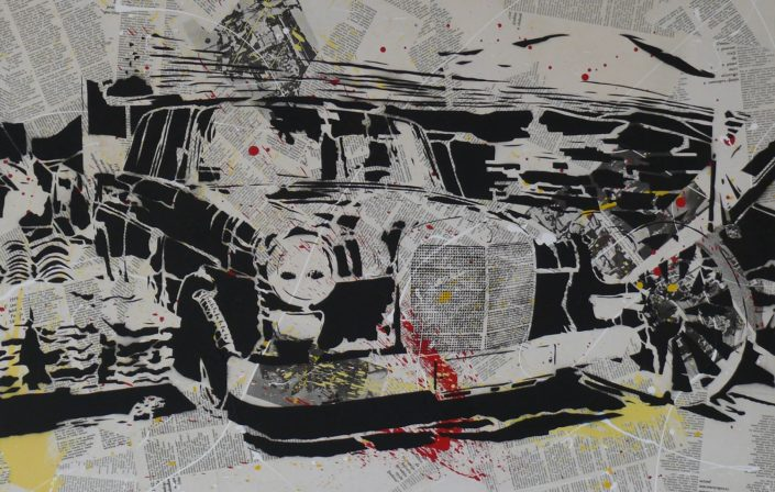 Painting of a Mercedes Benz - 75 cm * 115 cm- Mixed media on canvas - currently available