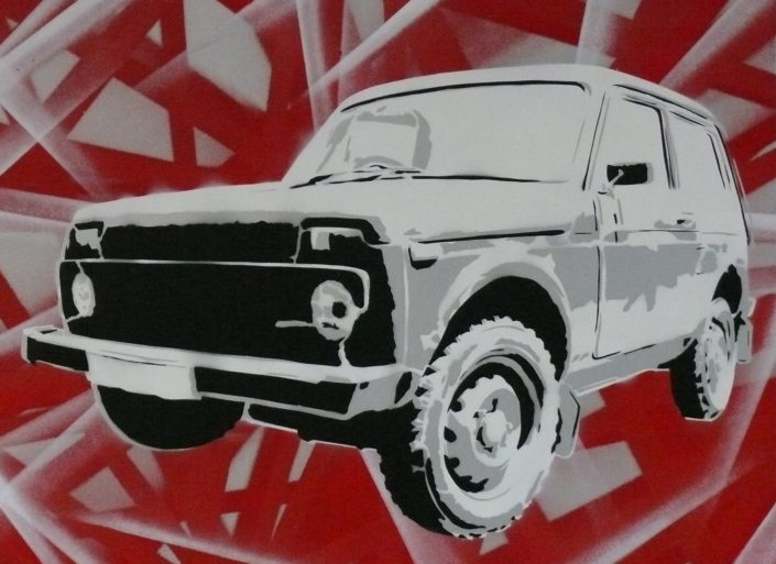 Painting of a Lada Niva - 60 cm * 80 cm- Mixed media on canvas - currently available