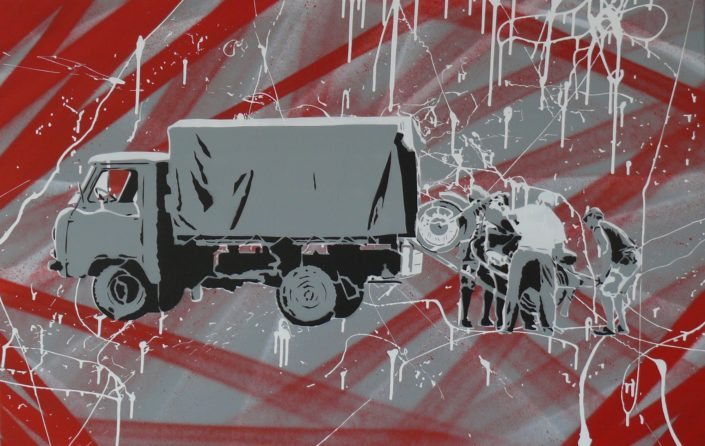 Painting of a truck being loaded or unloaded - 75 cm * 115 cm- Mixed media on canvas - currently available