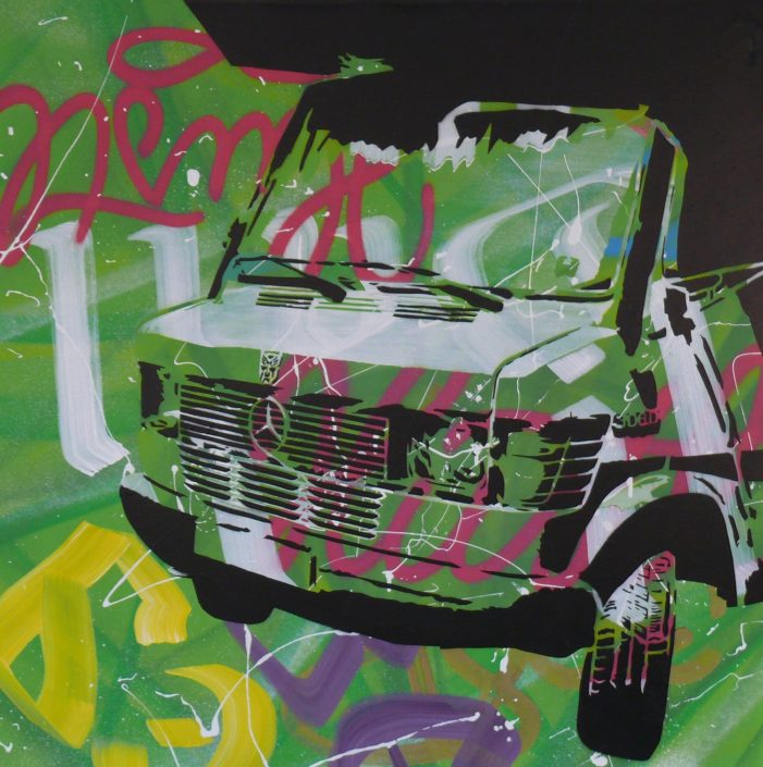 Painting of my Mercedes Benz 308D - 90 cm * 90 cm- Mixed media on canvas - currently available