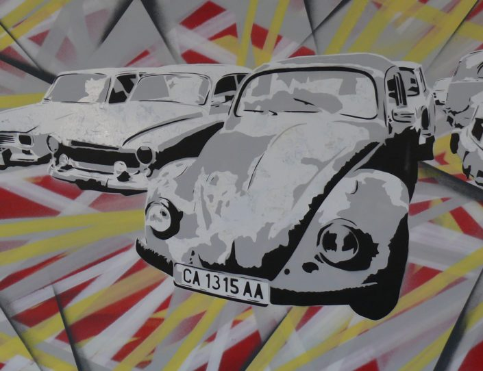 Painting of the cars of the Balkan - 70 cm * 90 cm- Mixed media on canvas - currently available