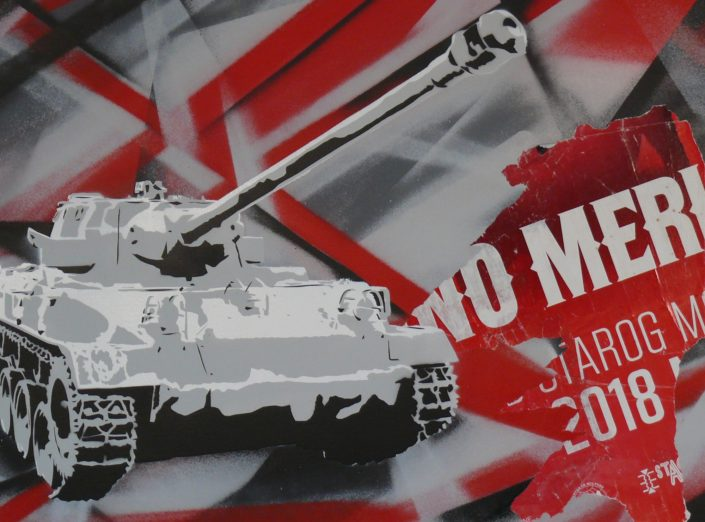 Painting of a tank - 60 cm * 80 cm- Mixed media on canvas - currently available