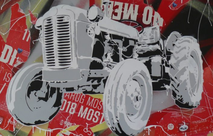 Painting of a very awesome tractor - 75 cm * 115 cm- Mixed media on canvas - currently available