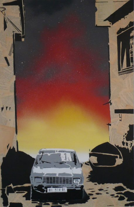 Painting of nightfall over Ohrid - 115 cm * 75 cm- Mixed media on canvas - currently available