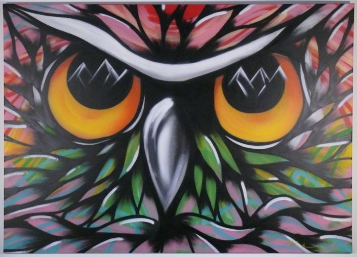 Awesome owl themed spray paint on canvas