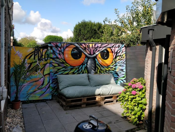 Spray painted this enormous colorful Owl in Sep and Soof's garden. HooHoo!