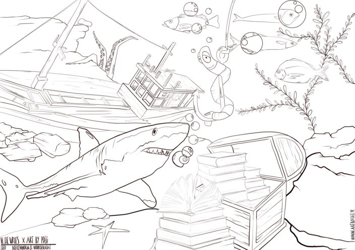 Coloring Picture_Book Worm_ArtbyPdeG